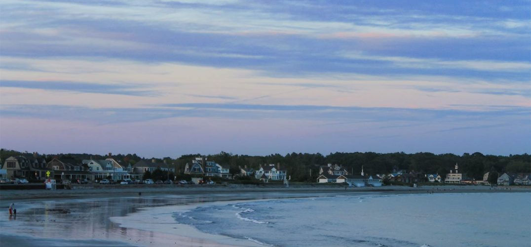 A sky with pastel colors on a beach in Kennebunkport
