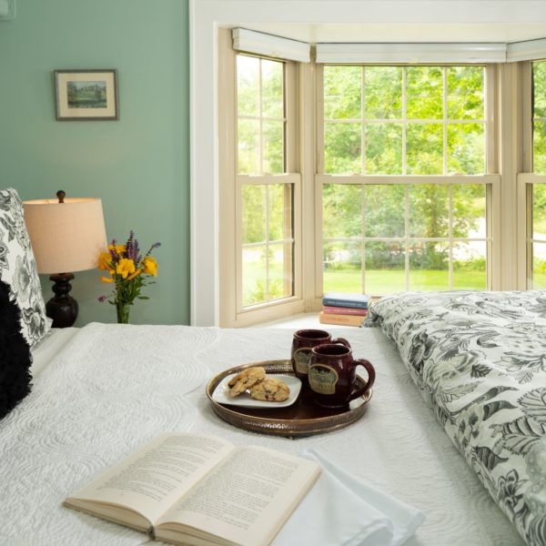 Bed with window and tea tray