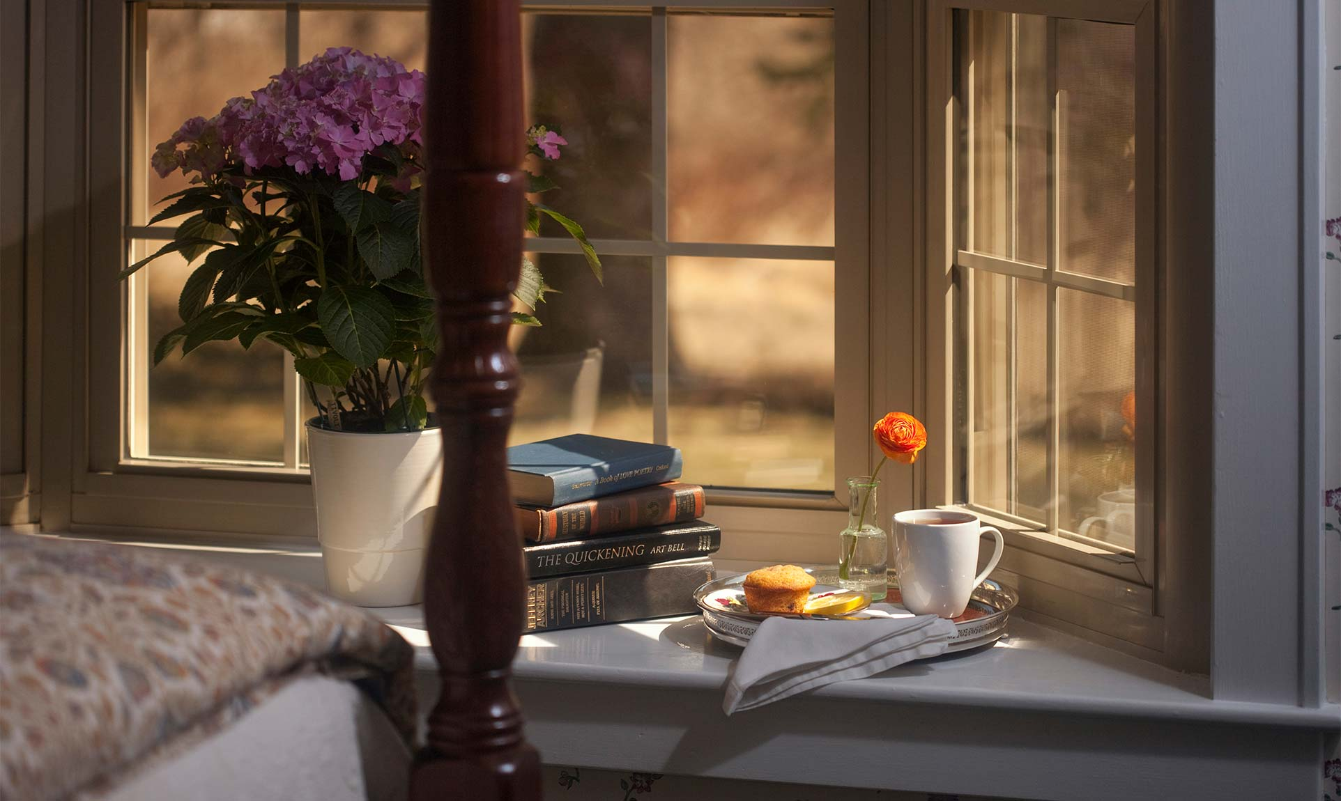 Bay window with books and flowers in a vase.