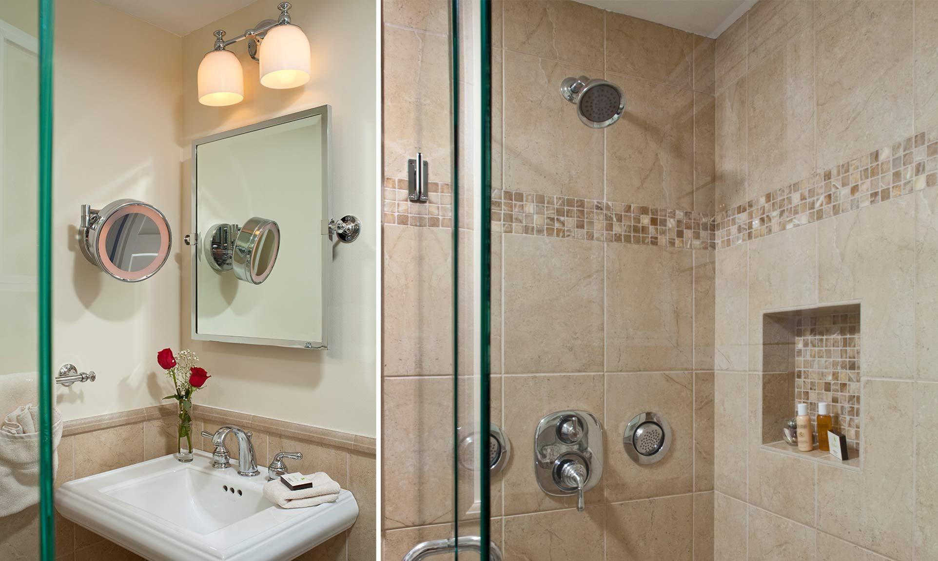 Bathroom sink and tiled walk-in shower with body jets