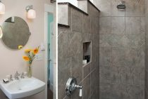 Two vertical images depicting a bathroom sink and stone tiled shower