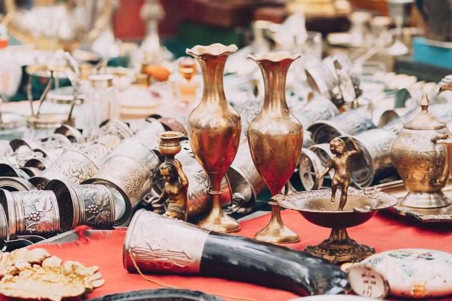 Collection of antiques on a table