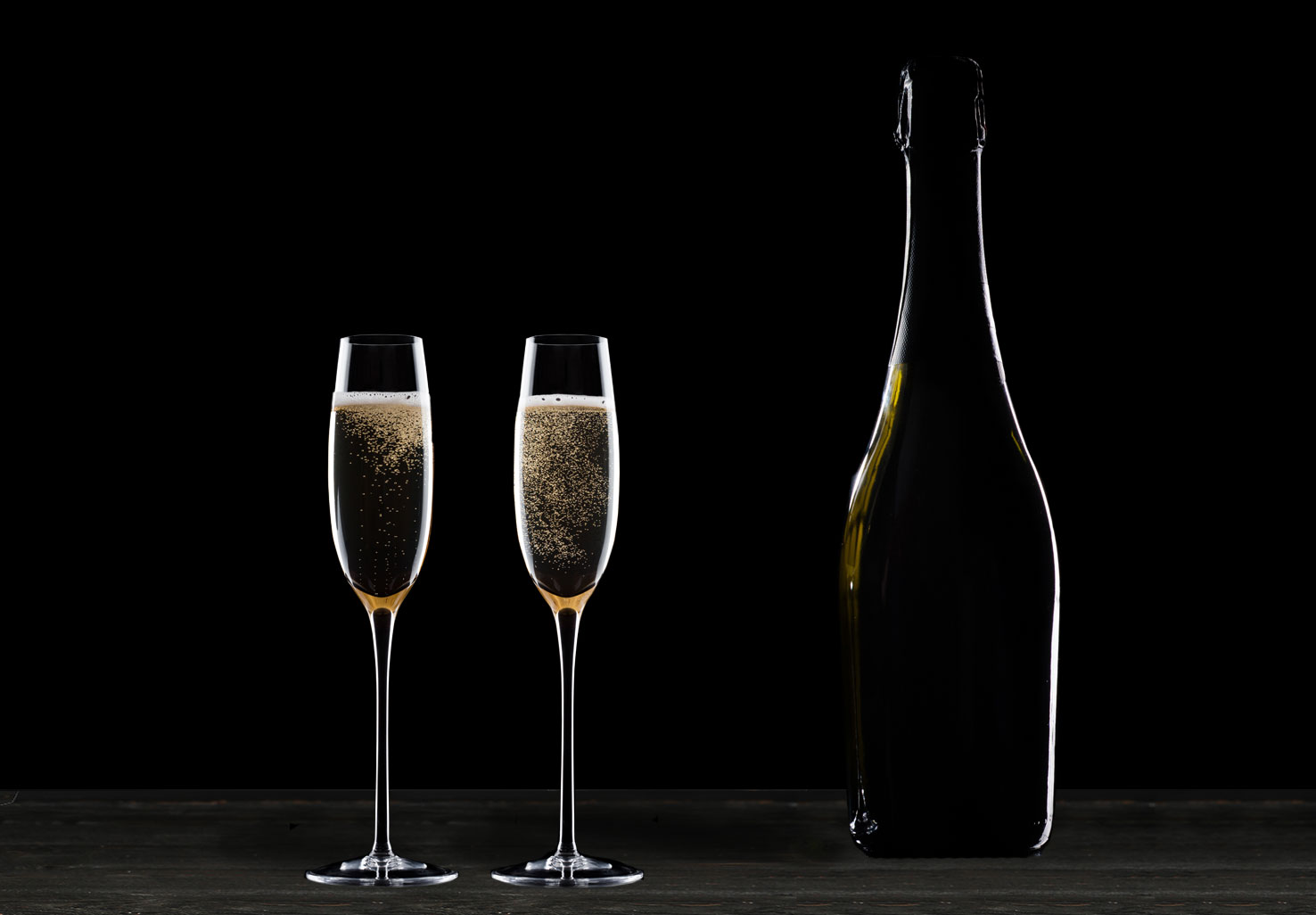 Champagne and two flutes