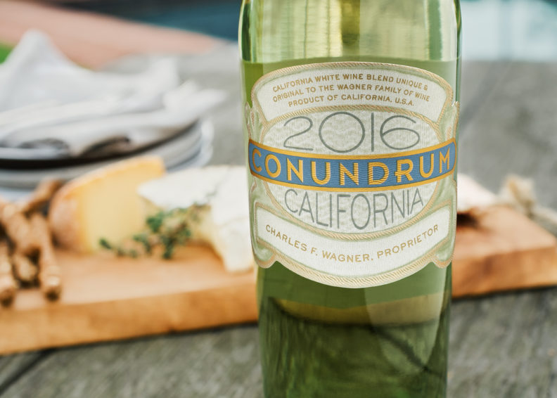 A bottle of Conundrum's white blend