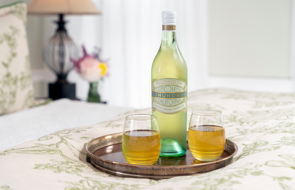 White wine on a tray