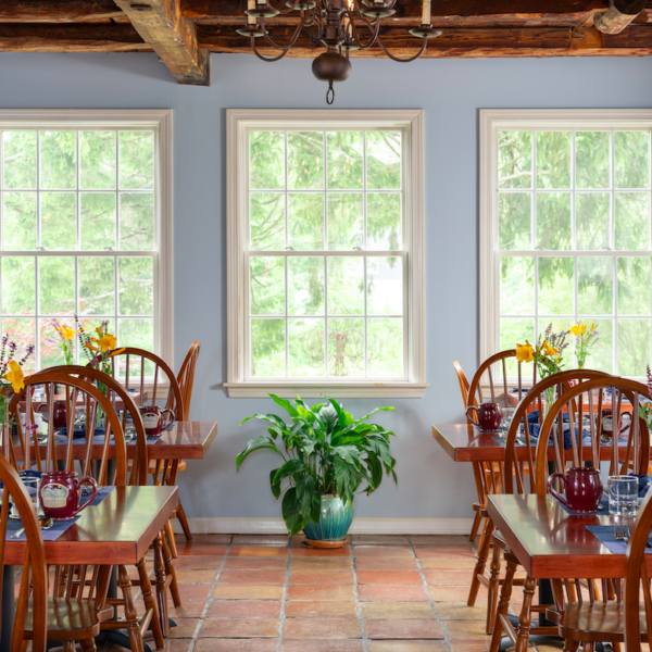 Dining Room with windows in background