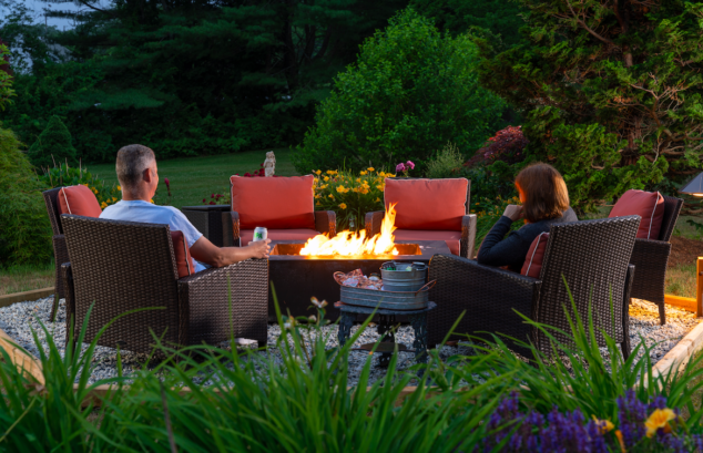 Fire pit in our gardens during the summer