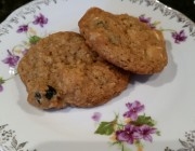 two oatmeal cookies on a china plate